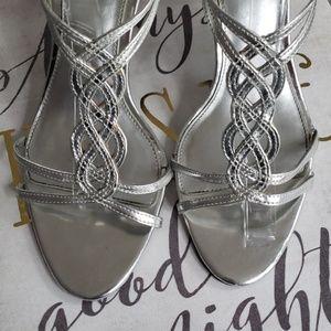 Silver strappy sandal heels